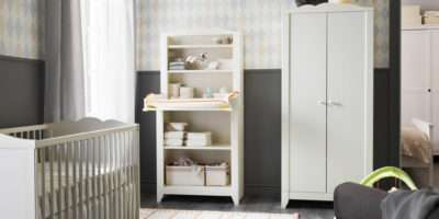 Nursery White Crib Combined Wardrobe Cabinet