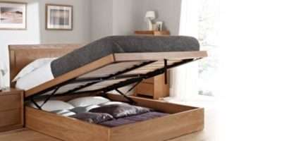 Oak Ottoman Storage Bed Double