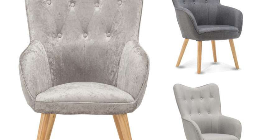 Occasional Accent Bedroom Chair Wing Back Armchair Silver