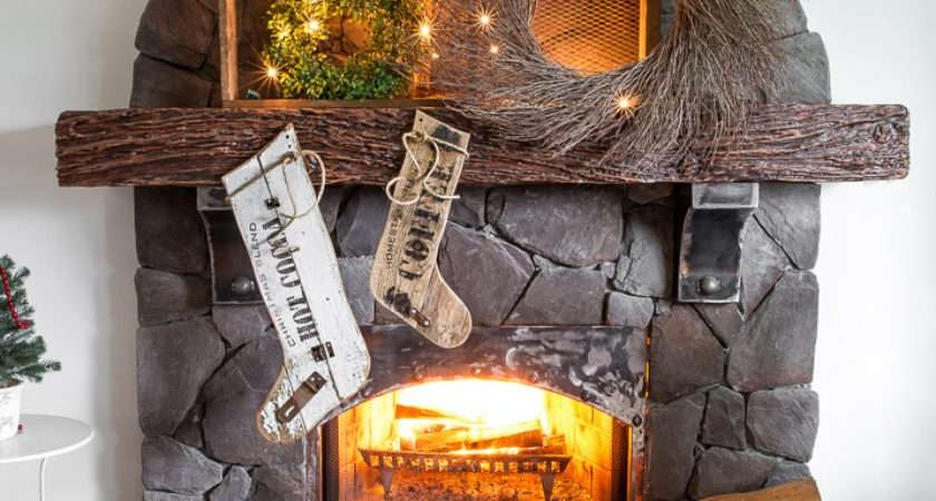 Old Sign Styled Reclaimed Wood Christmas Stockings