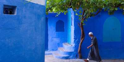 Old Town Walls Moroccan City Covered Heavenly Blue