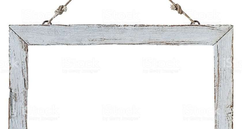 Old Weathered White Wood Frame Hanging Rusty Nail