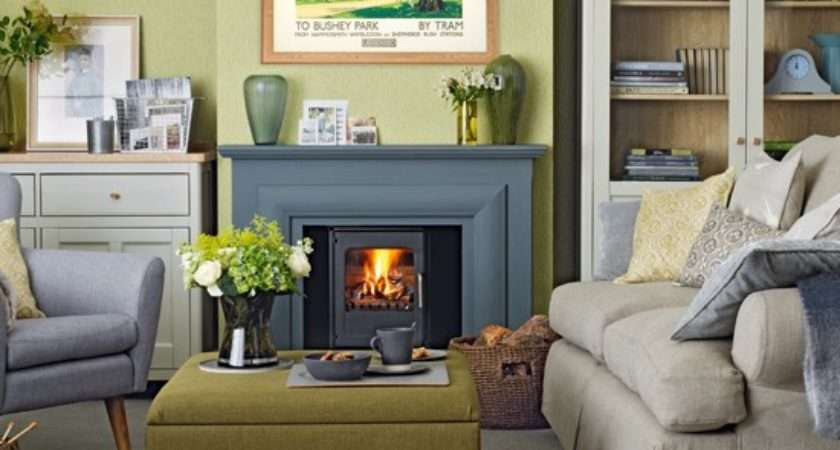 Olive Green Grey Living Room Traditional Decorating Ideas
