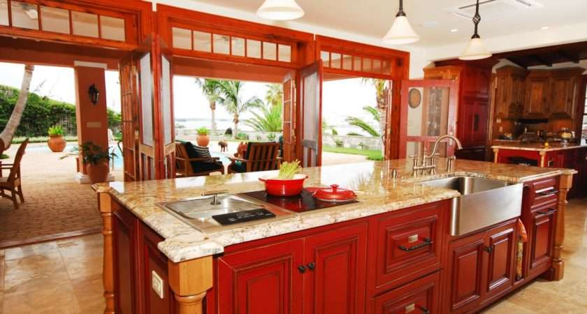 Open Kitchen Large Red Island Eye Catching