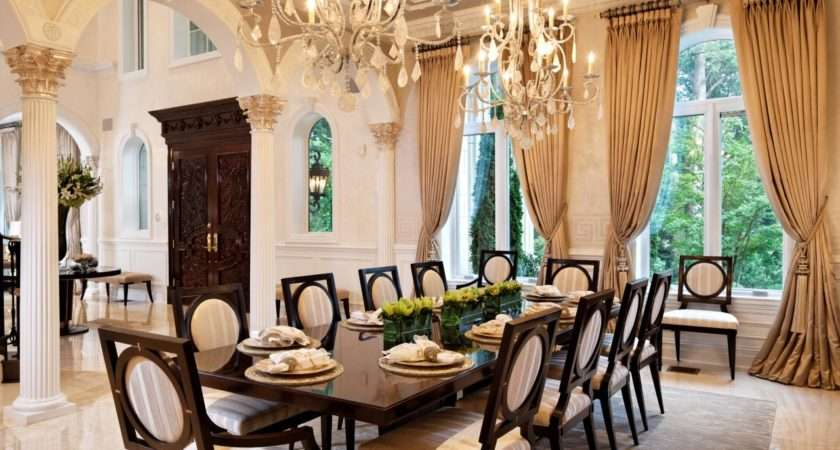 Opulent Dining Room Double Chandeliers Stunning Wood