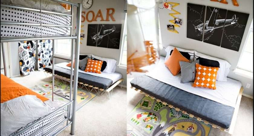 Orange Airplanes Not Girly Shared Boy Bedroom