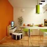 Orange Lime Green White Dining Cum Living Room Interior Design Ideas