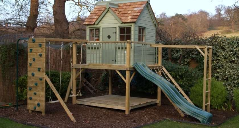 Otter Cottage Childrens Wooden Playhouse Climbing Frame