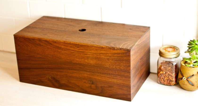 Our Table Walnut Bread Box Modern Boxes