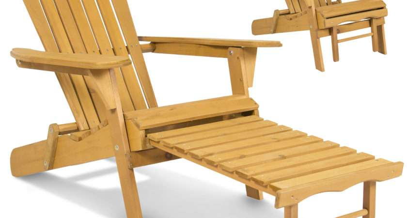 Outdoor Adirondack Wood Chair Foldable Pull Out Ottoman