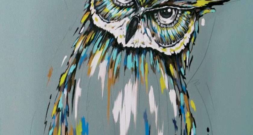 Owl Painting Acrylic Canvas Spirit Guide