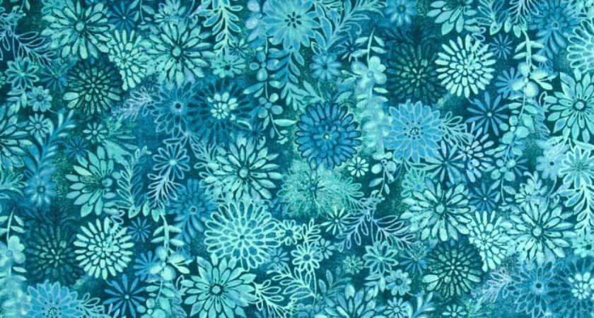 Packed Floral Tonal Teal Discount Designer Fabric
