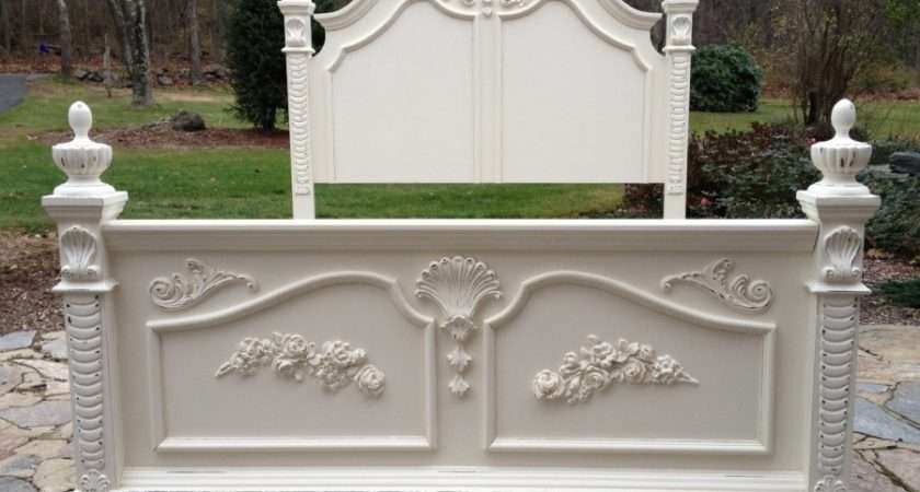 Painted Queen Shabby Chic Bed Roses Beach Cottage