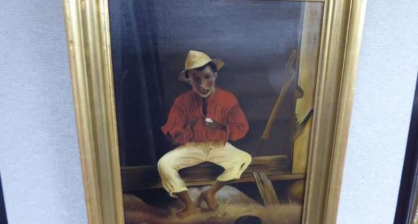 Painting Oil Canvas African American Boy Egg Unsigned