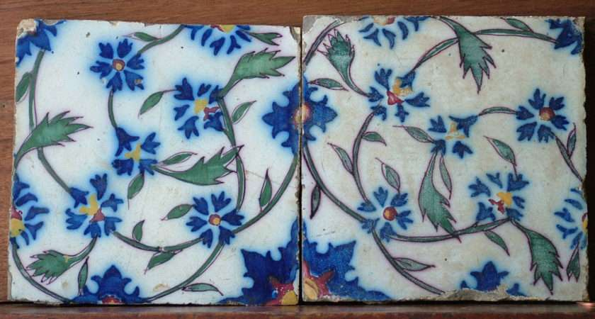 Pair Antique French Wall Tiles Hand Painted Ebay