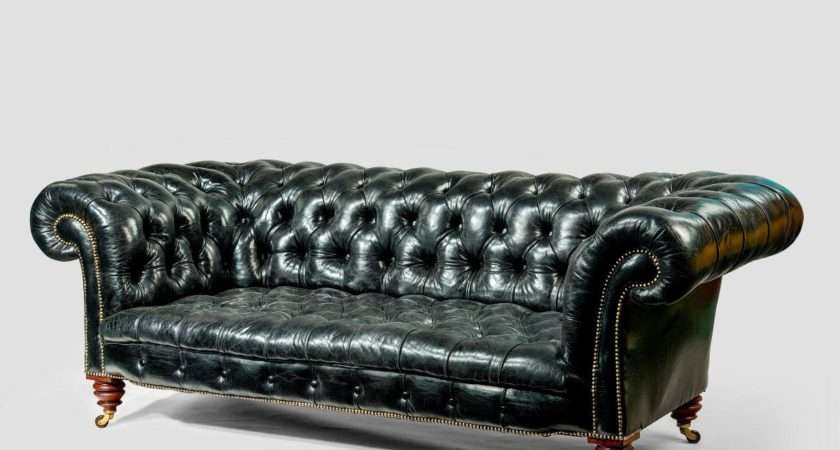 Pair Black Leather Chesterfield Sofas Shoolbred