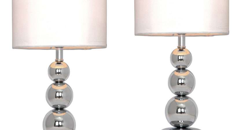 Pair Modern Silver Chrome White Touch Bedside Lounge
