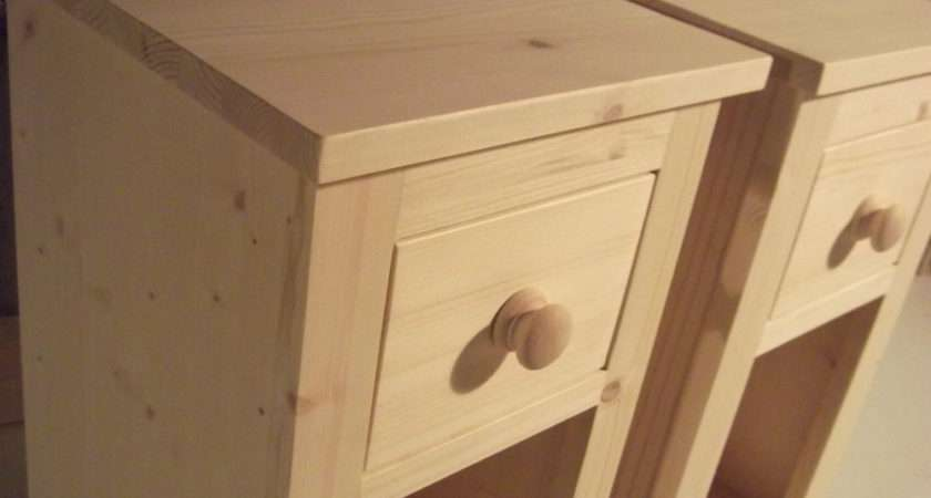 Pair Narrow Solid Pine Bedside Cabinets Untreated Wide