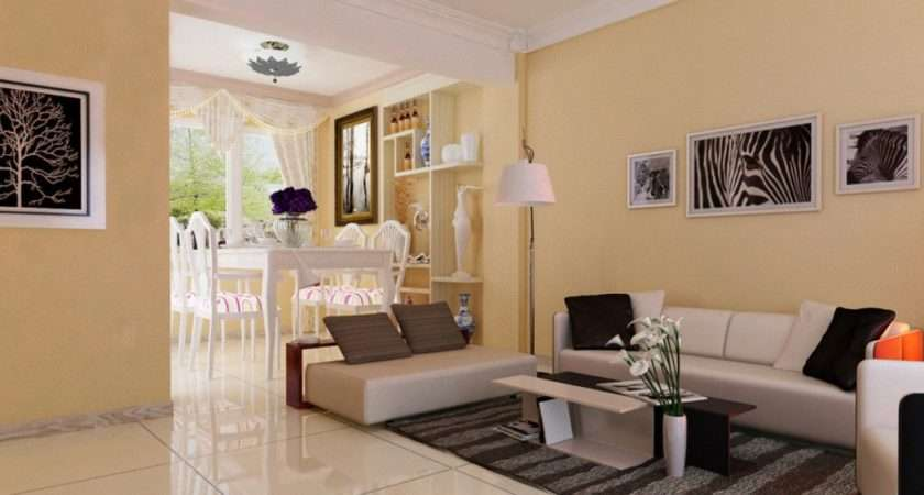 Pale Yellow Minimalist Living Room Dining
