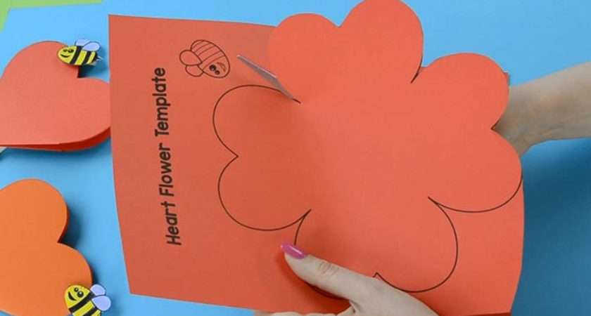 Paper Heart Flower Craft Template Easy Peasy Fun