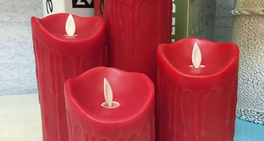 Paraffin Red Wax Flameless Led Candle Tear Dripping Finish