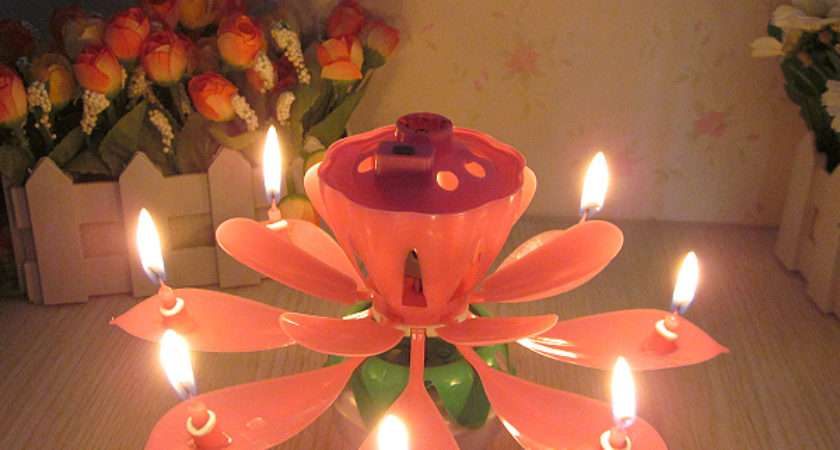 Party Festive Supplies Birthday Candle Lotus Music