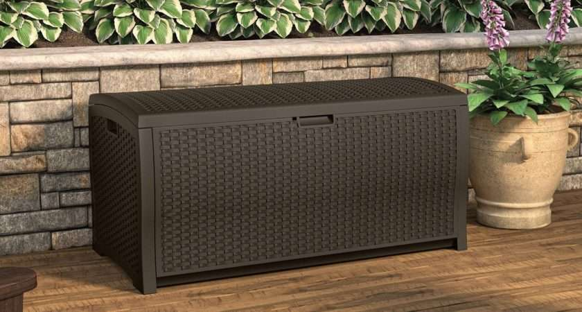 Patio Deck Box Outdoor Garden Storage Trunk Resin