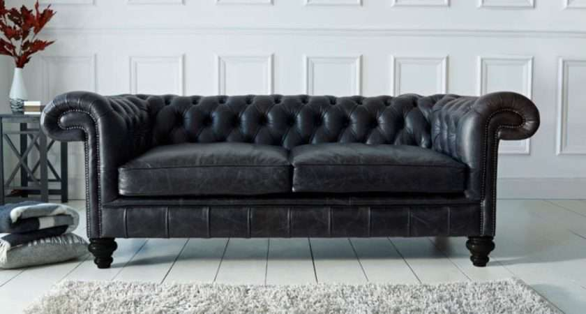 Paxton Black Leather Chesterfield Company