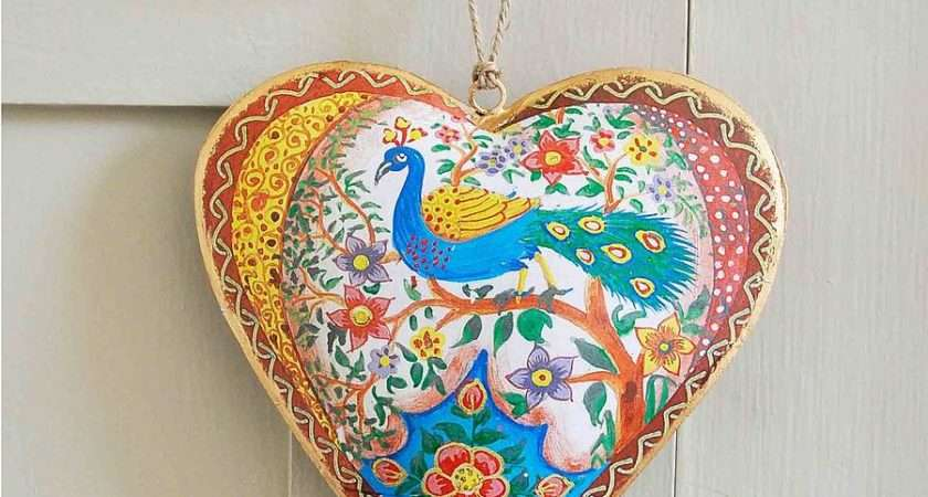 Peacock Hanging Heart Decoration Anusha