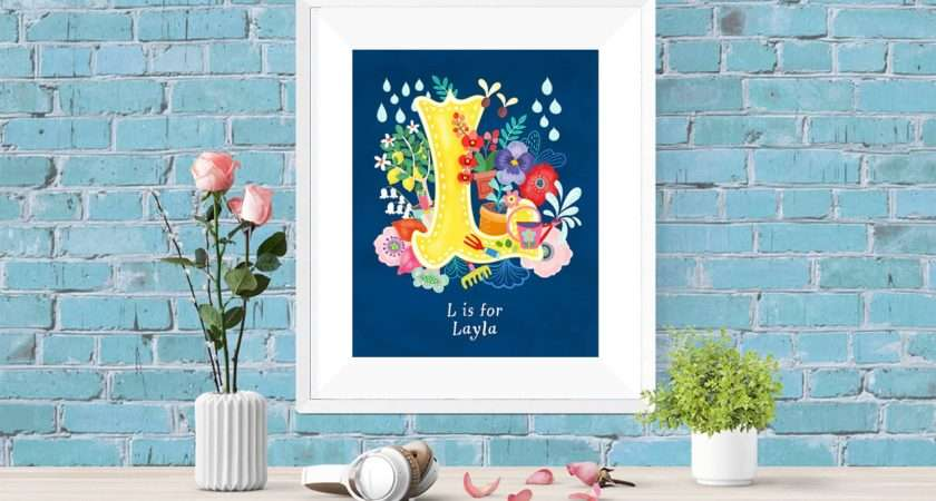 Personalised Custom Initial Letter Floral Poster Wall Art