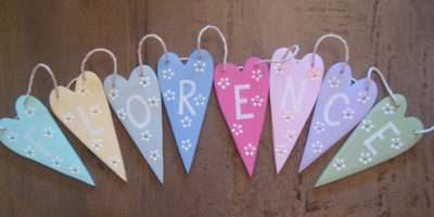 Personalised Wooden Heart Bunting Okey Dokey