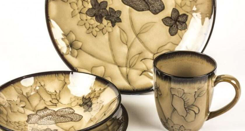 Piece Cream Brown Flower Crockery Set Dinner