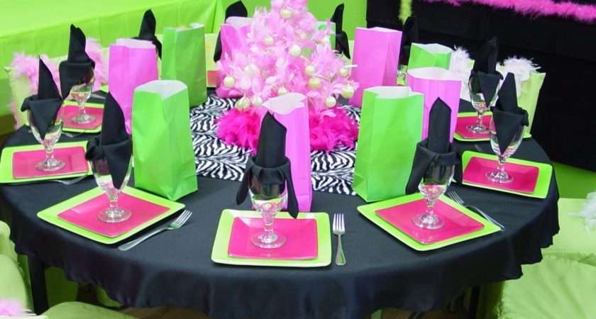 Pink Black Party Decorations Wide