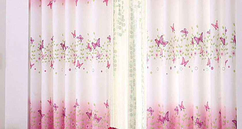 Pink Butterfly Childrens Bedroom Finished Curtain Kids