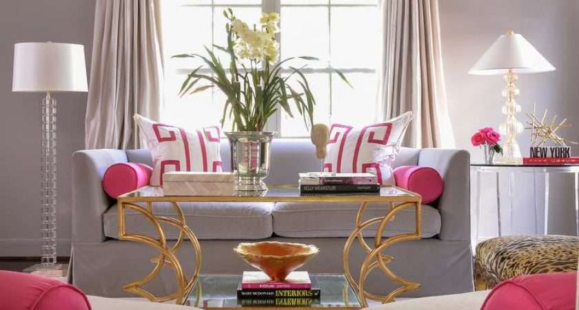 Pink Gray Living Rooms Contemporary Room
