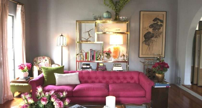 Pink Gray Living Rooms Design Ideas