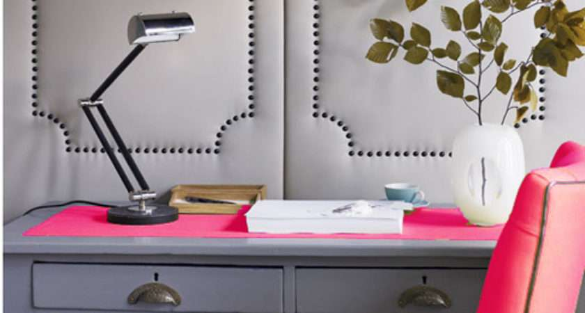 Pink Gray Office Contemporary Den Library