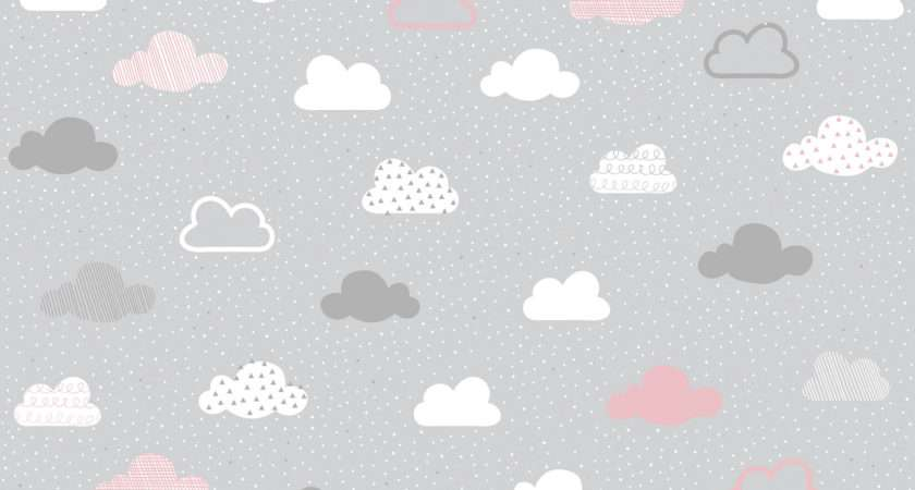 Pink Grey Clouds Pattern Wall Mural Murals
