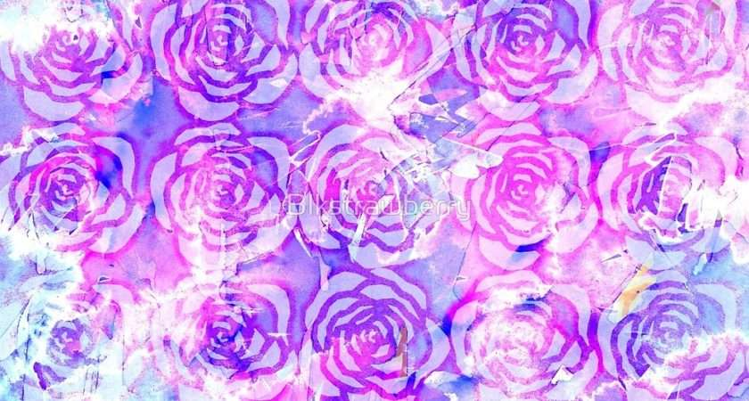 Pink Purple Blue Floral Watercolor Pattern