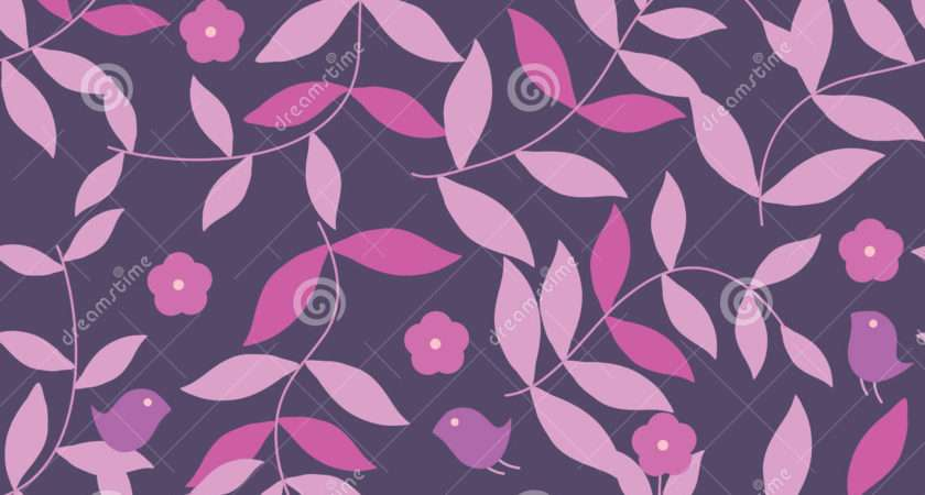 Pink Purple Leaves Seamless Pattern Eps Vector