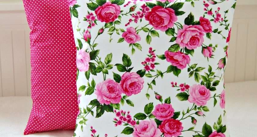 Pink Roses Shabby Chic Cushion Cover Inch Cerise