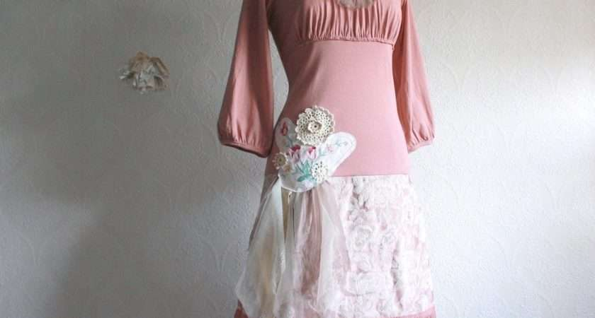 Pink Shabby Chic Dress Upcyced Women Clothing Dusty Rose