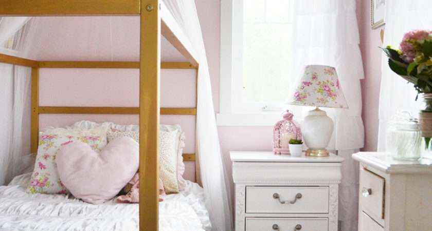 Pink White Gold Shabby Chic Glam Girls Bedroom