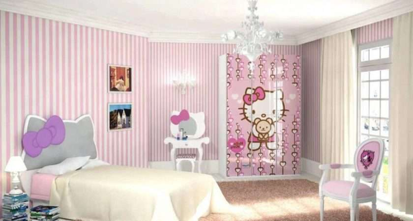 Pink White Striped Walls Hello Kitty Bedroom