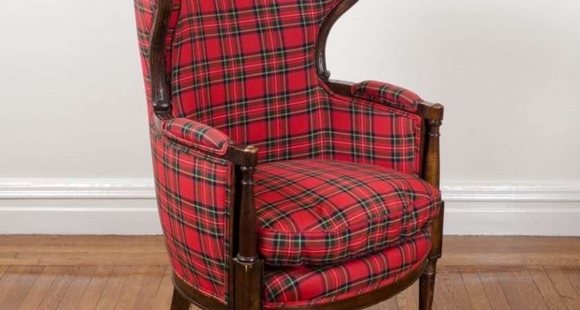 Plaid Upholstered Wingback Arm Chair Ebth