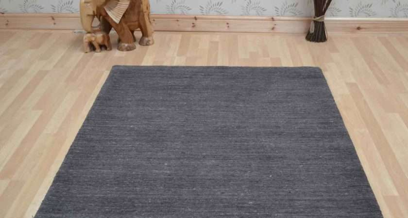 Plain Abrash Wool Rugs Charcoal Delivery