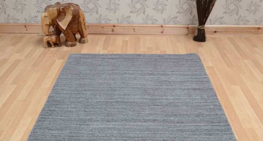 Plain Abrash Wool Rugs Grey Delivery