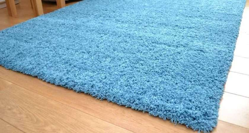 Plain Teal Rug Shaggy Soft Touch Large Mat Luxurious New