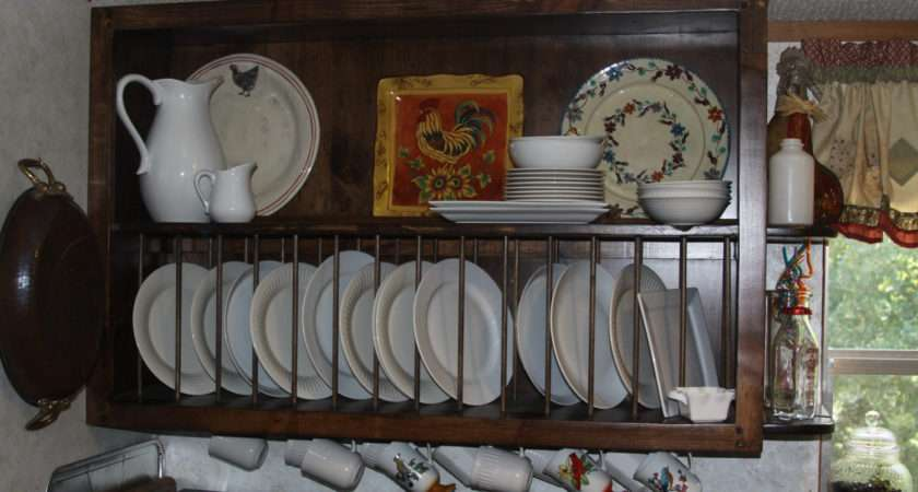 Plate Rack Wall Mounted Custom Kitchen Cabinet Open Shelves