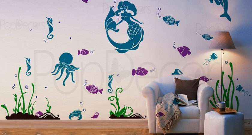 Playroom Wall Decal Children Murals Mermaid Popdecors